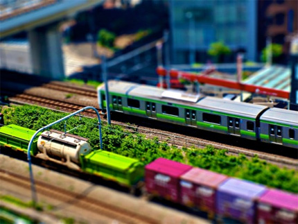 Tilt-shift Japan train