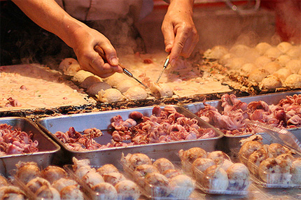 Takoyaki being made