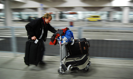 Man rushing with luggage