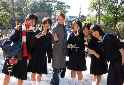 Girl with Japanese friends
