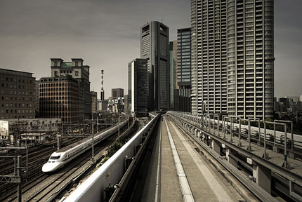 Tokyo with train going past