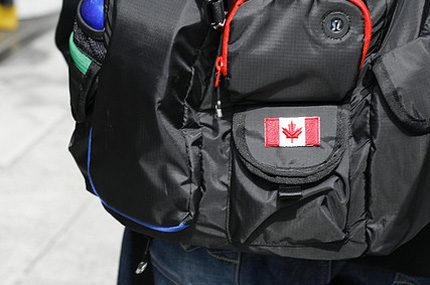 Backpack with Canadian flag on it