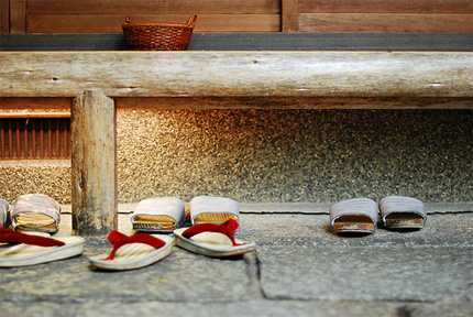 Japan shoes outside door