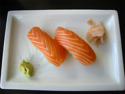sushi with wasabi and ginger
